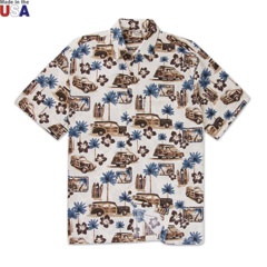 North Shore Woody Print Shirt Brown