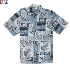 Pineapple Blocks Print Shirt Grey