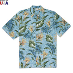 Bird of Paradise Print Shirt Blue