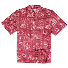 Reyn Spooner Yachting Tapa Print Shirt Red