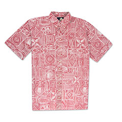 Reyn Spooner Seaside Tapa Print Shirt Red