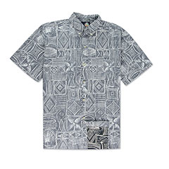 Reyn Spooner Seaside Tapa Print Shirt Charcoal