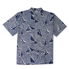Reyn Spooner Hawaiian Sails Print Shirt Royal