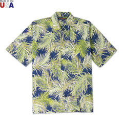 Frond of You Print Shirt Navy