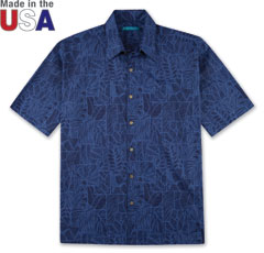 Border-Line Print Shirt Navy