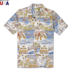 Haleiwa Town Print Shirt Natural