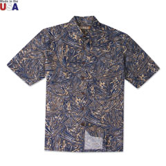 Surf Carving Print Shirt Navy