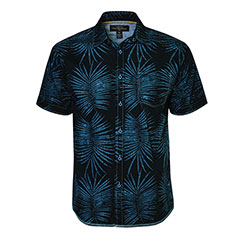 Palm Fanned Batik Shirt Black