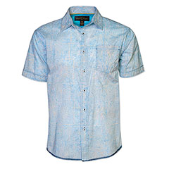 Palm Block Batik Shirt Cloud Blue