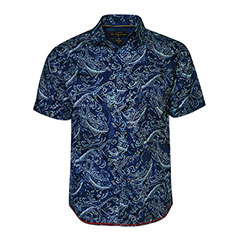 Gone Fishing Batik Print Shirt Navy