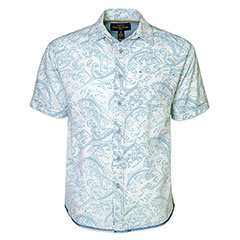 Gone Fishing Linen Batik Shirt Seafoam