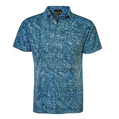 Retro Batik Polo Shirt Ocean Green