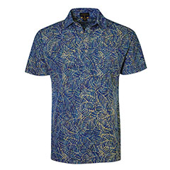Sketched Leaves Batik Polo Shirt Blue