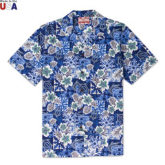 Hawaiian Paradise Print Shirt Blue