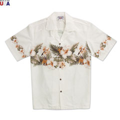 Beach Flower Print Shirt Ivory