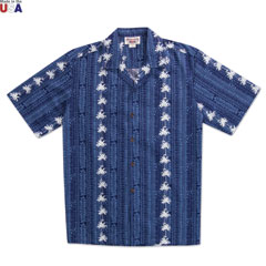 Whispering Palms Print Shirt Navy