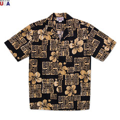 Hibiscus Terrace Print Shirt Black