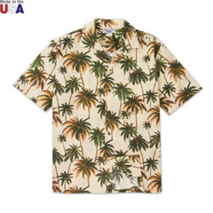 Palm Paradise Print Shirt Cream