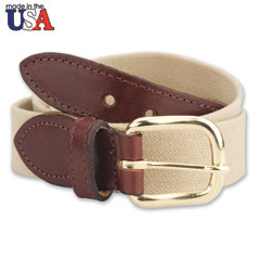 Leather Tab Cotton Belt Khaki Tan
