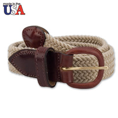 Adjustable Tab Braided Belt Khaki Tan