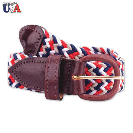 Brown Leather Tab Braided Belt 1