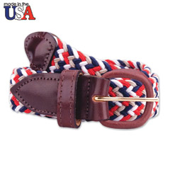 Brown Leather Tab Braided Belt Multi-Colored
