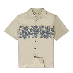 Pua Band Silk Print Shirt Khaki Tan
