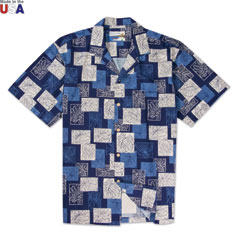 Monstera Print Shirt Navy