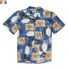 Pua Block Print Shirt Blue