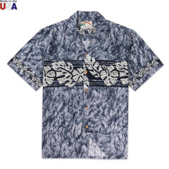 Hibiscus Band Print Shirt Charcoal