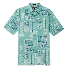 Surf Tube Silk Print Shirt Seafoam