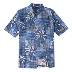 Palm Pacific Silk Print Shirt Blue