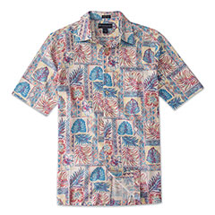 Java Palms Silk Print Shirt Coral
