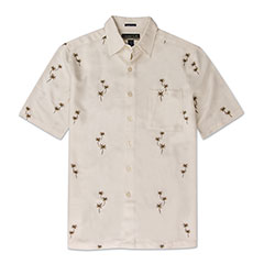 Palm Grove Embroidered Shirt Ivory
