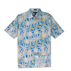 Leaf Canopy Silk Print Shirt Blue